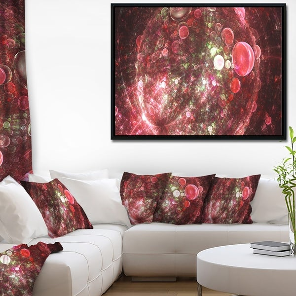 Designart 'Red Spherical Planet Bubbles' Abstract Framed Canvas Art Print