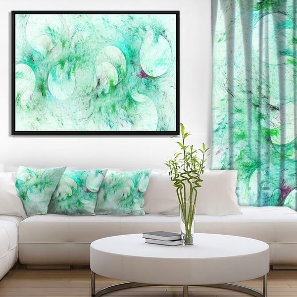 Designart 'Green Circles Fractal Texture' Abstract Framed Canvas Art Print