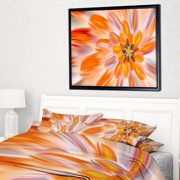 Designart 'Dance of Fractal Yellow Petals' Abstract Wall Art Framed Canvas