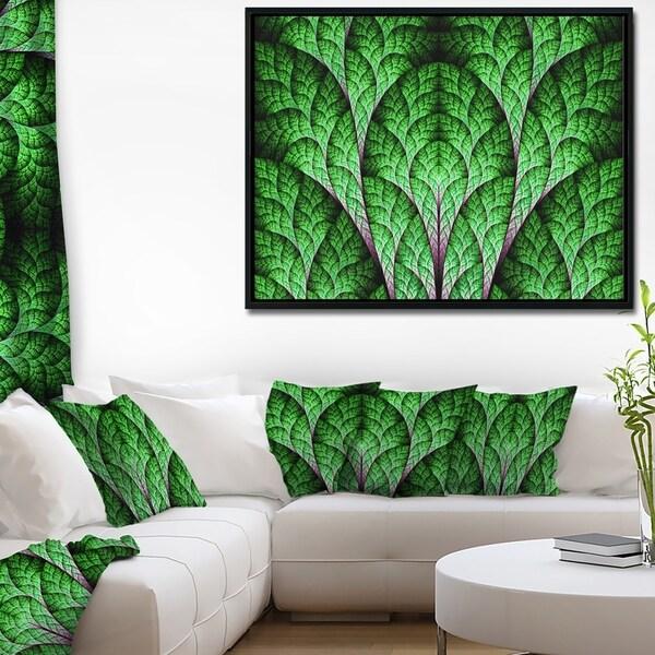 Designart 'Exotic Green Biological Organism' Abstract Art on Framed Canvas