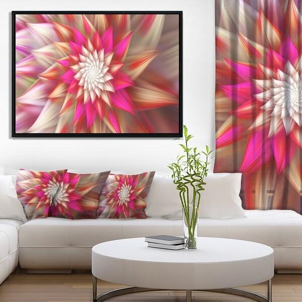 Designart 'Pink Exotic Fractal Flower' Abstract Framed Canvas Art Print