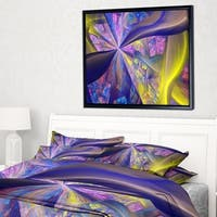 Designart 'Purple Yellow Fractal Curves' Abstract Framed Canvas Art Print