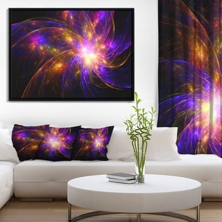 Designart 'Purple Fractal Star Pattern' Abstract Framed Canvas Art Print