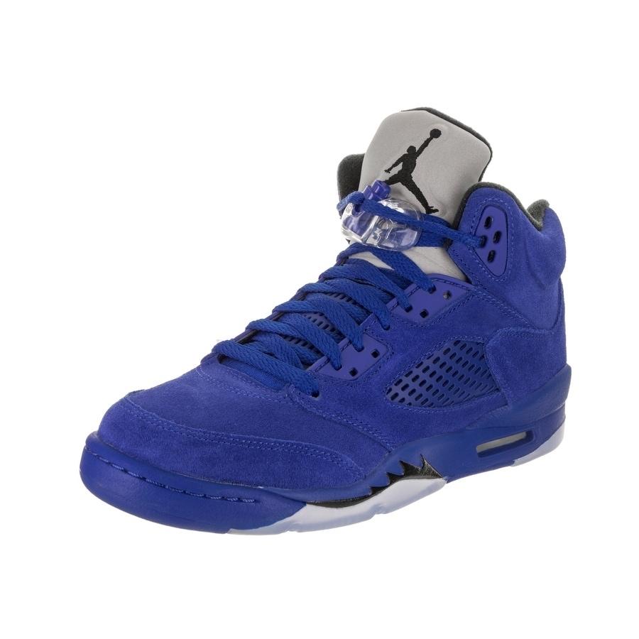 Nike Kids Air Jordan 5 Retro BG Basketball Shoe (6.5), Boy's, Blue (Suede)