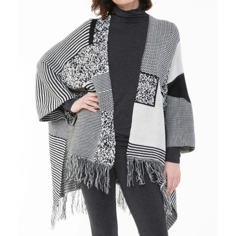Sioni Women's Patchwork Fringe Poncho