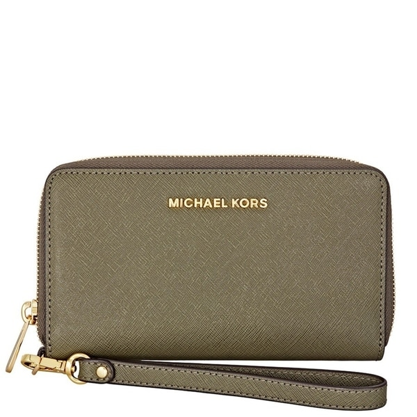 bf8d2f895aad Shop MICHAEL KORS Jet Set Travel Large Smartphone Wristlet - Olive ...