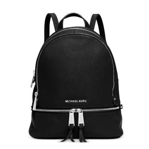 003b1a7fb82a14 Michael Kors Rhea Black Medium Slim Fashion Backpack with Silver Hardware