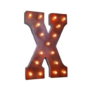 "21"" Letter X Plug-In Rustic Metal Marquee Light Up Sign Color"