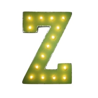 "21"" Letter Z Plug-In Rustic Metal Marquee Light Up Sign Color"