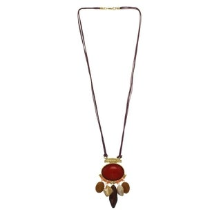 Red & Brown Coral Stone Pendant Necklace - Orange
