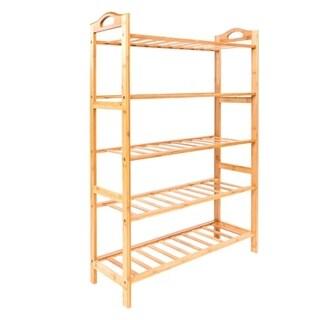 5Tier Bamboo Shoe Shelf Holder Storage Rack Organizer Entryway