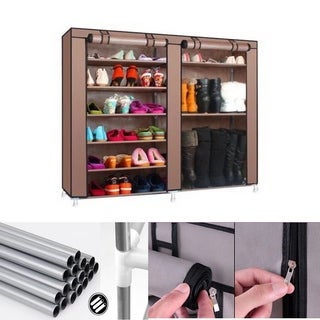 Free Standing 6 Tier Shoe Tower Rack Organizer Cabinet With Cover