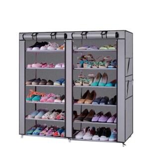 6 Tier Shoe Rack Storage Organizer Wardrobe Rack Shelves Closet Grey