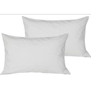 Just Linen 100% Water Resistant , Zippered Hypoallergenic Dust Proof Terry Surface Pillow Protectors, White - Pack of 2