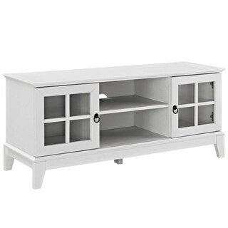 Modway Isle White 47-inch TV Stand with Tempered Glass Windowpane Cabinets