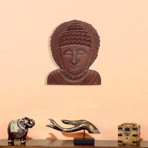 Shop The Urban Port Wooden Buddha Wall Hanging Art Decor Brown