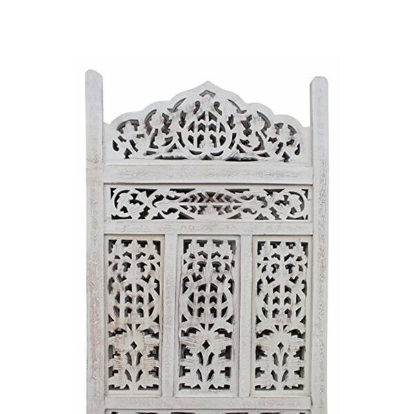 Aesthetically Carved 4 Panel Wooden Parion Screen