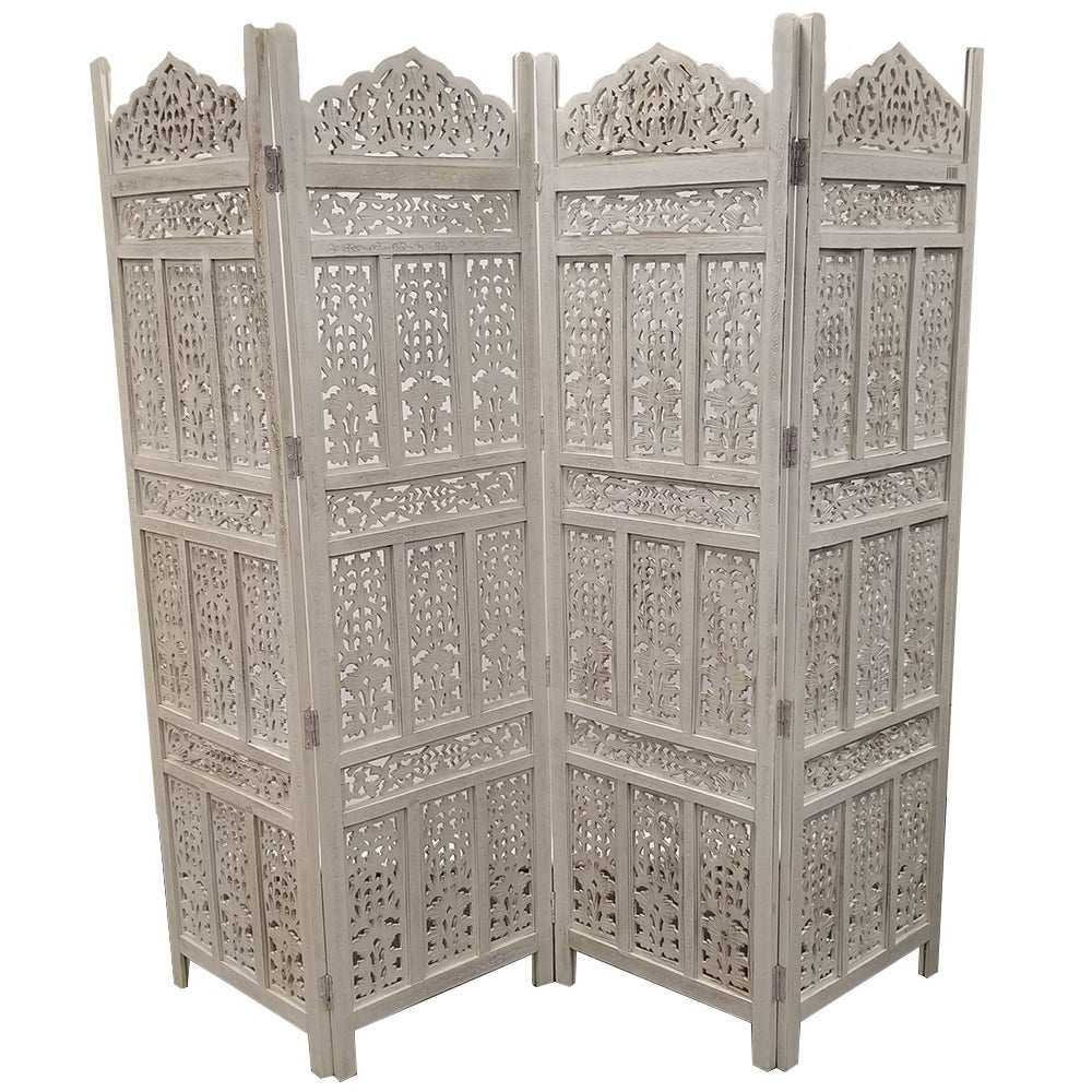 Aesthetically Carved 4 Panel Wooden Parion Screen Room Divider Distressed White