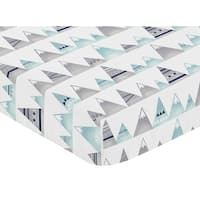 Sweet Jojo Designs Navy Blue, Aqua and Grey Aztec Mountains Collection Fitted Crib Sheet