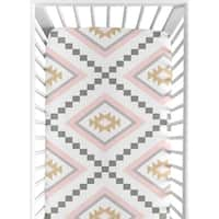 Sweet Jojo Designs Blush Pink and Grey Boho Aztec Collection Fitted Crib Sheet