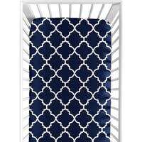 Sweet Jojo Designs Navy Blue and White Modern Trellis Lattice Collection Fitted Crib Sheet