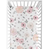 Sweet Jojo Designs Blush Pink, Grey and White Watercolor Floral Collection Fitted Crib Sheet