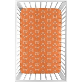Sweet Jojo Designs Orange and White Arrow Collection Fitted Mini Portable Crib Sheet
