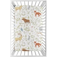 Sweet Jojo Designs Animal Print Woodland Toile Collection Fitted Mini Portable Crib Sheet