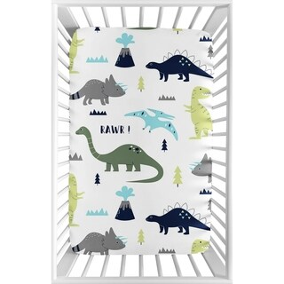 Sweet Jojo Designs Navy Blue, Turquoise and Grey Dinosaur Mod Dino Collection Fitted Mini Portable Crib Sheet