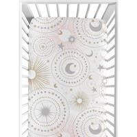 Sweet Jojo Designs Blush Pink, Gold, Grey and White Star and Moon Celestial Collection Fitted Crib Sheet