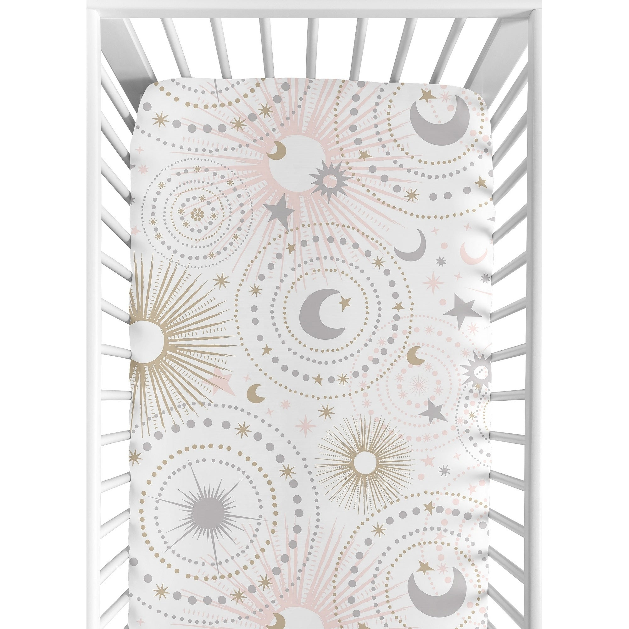 Blush Pink Gold Grey Celestial Star Moon Baby Fitted Mini Portable Crib Sheet
