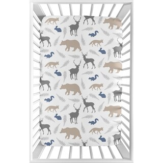 Sweet Jojo Designs Grey and Blue Woodland Animals Collection Fitted Mini Portable Crib Sheet
