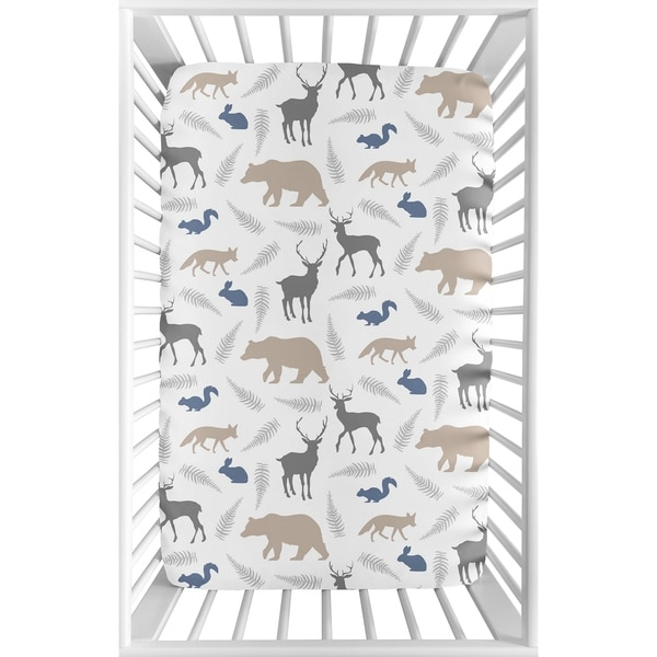 Sweet Jojo Designs Grey and Blue Woodland Animals Collection Fitted Mini Portable Crib Sheet. Opens flyout.