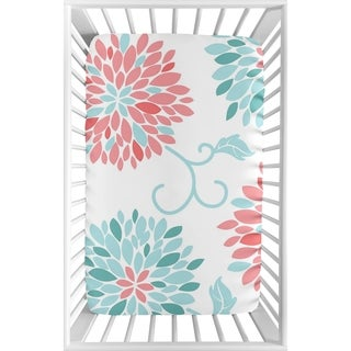 Sweet Jojo Designs Turquoise Blue and Coral Floral Emma Collection Fitted Mini Portable Crib Sheet