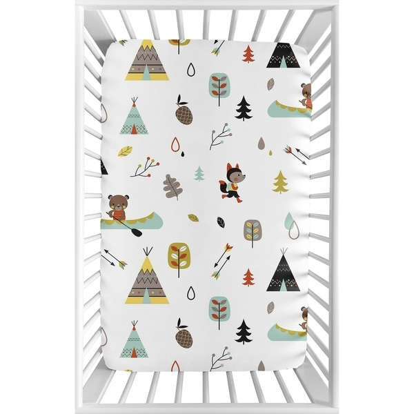 Sweet Jojo Designs Stone and Aqua Woodland Animals Outdoor Adventure Collection Fitted Mini Portable Crib Sheet