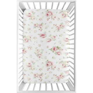 Sweet Jojo Designs Pink, Sage and White Floral Riley Roses Collection Fitted Mini Portable Crib Sheet