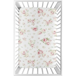 Link to Sweet Jojo Designs Pink, Sage and White Floral Riley Roses Collection Fitted Mini Portable Crib Sheet Similar Items in Baby Bed Sheets