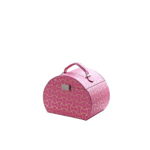 """6.8"""" in Hot Pink Travel Jewlery Case"""