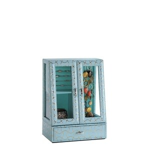 """12.25"""" in Turquoise Blue and Gold Glass Jewlery Case"""