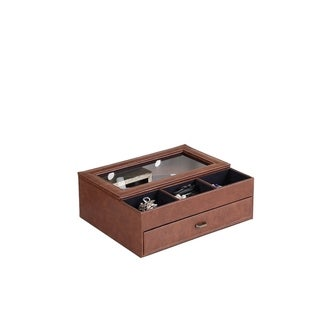 """12"""" in Brown Leather Tempered Glass Men Valet Box"""