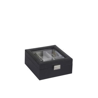 """Link to 3.3"""" in Black Leather Gray Lined Glass 6-Watch Case Similar Items in Watch Accessories"""
