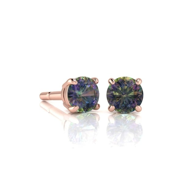 1 3 4ct Tgw Round Shape Mystic Topaz Stud Earrings In 14k Rose Gold Over
