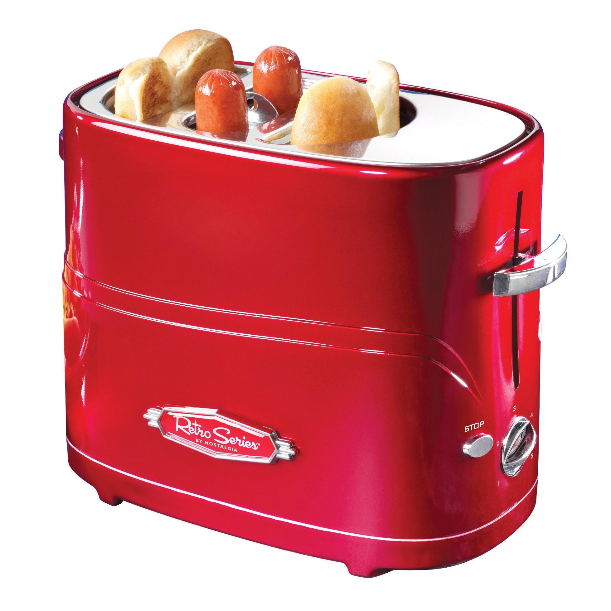 Nostalgia HDT600RETRORED Retro Series Pop-Up Hot Dog Toas...