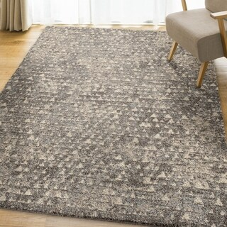 Carolina Weavers Modern Pixel Gray Plush Shag (5'3 x 7'6)
