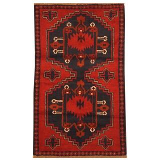 Handmade Herat Oriental Afghan Hand-knotted Tribal Balouchi Wool Rug (2'10 x 4'9)