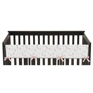 Sweet Jojo Designs Pink, Grey and Gold Unicorn Collection Long Crib Rail Guard Cover