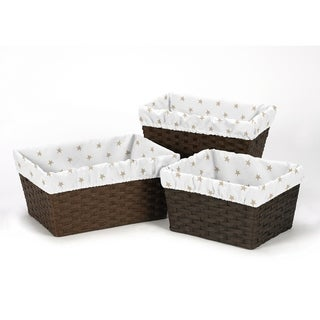 Sweet Jojo Designs Gold and White Star Celestial Collection Basket Liners (Set of 3)