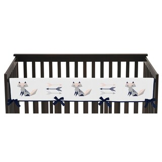 Sweet Jojo Designs Navy Blue, Pink, and Grey Woodland Fox and Arrow Collection Long Crib Rail Guard Cover