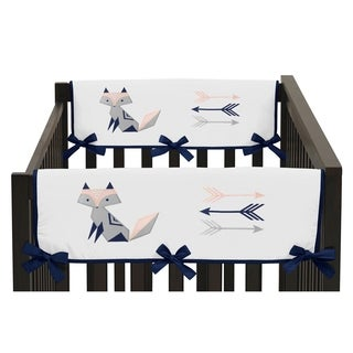 Sweet Jojo Designs Navy Blue, Pink, and Grey Woodland Fox and Arrow Collection Side Crib Rail Guard Covers (Set of 2)