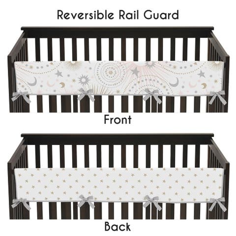 Sweet Jojo Designs Blush Pink, Gold, Grey and White Star and Moon Celestial Collection Long Crib Rail Guard Cover